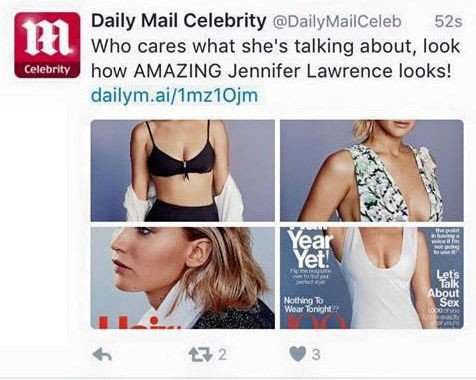 TWITTER: Daily Mail Celebrity delte torsdag en sak om Jennifer Lawrence på Twitter. Nå får de kritikk for formuleringen.