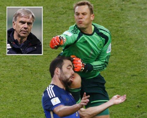 SVÆRT FARLIG SPILL: Manuel Neuer går ut med stor kraft i en duell med Gonzalo Higuain, og kneet rettet mot hodet til argentineren.