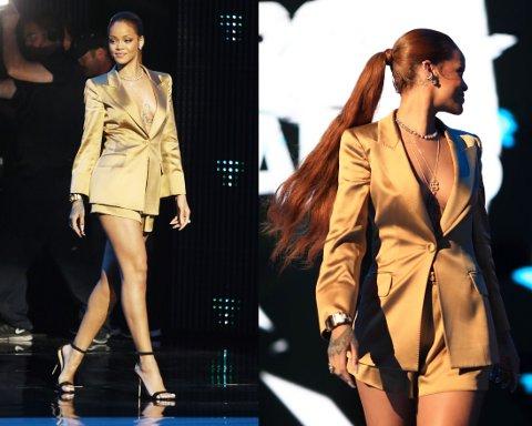SELVISKKER: Dette er Rihanna som vi kjenner henne. Trendy antrekk, og glimt i øyet. Foto: Getty Images
