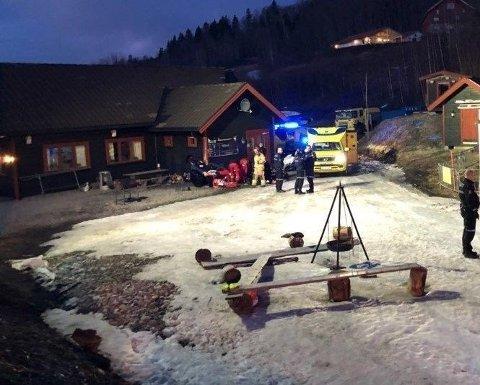 Snøscooter-ulykke på Modum torsdag kveld.