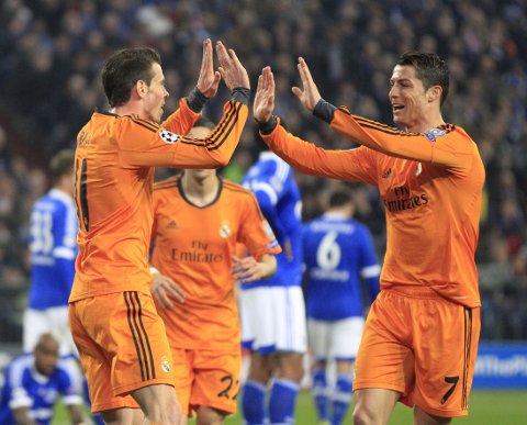 LEKESTUE: Gareth Bale, Cristiano Ronaldo og Real Madrid scoret seks ganger mot Schalke.