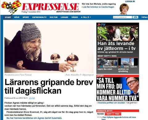 EIVOR EVENRUDs blogginnlegg om Agnes er Sveriges mest delte fredag.