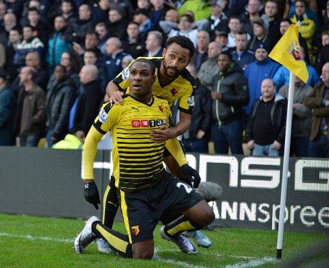 BLIR VÆRENDE: Odion Ighalo (foran) lover Watford-fansen at han blir værende i klubben.