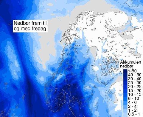 LAVTRYKK: Det ventes mer nedbør i Sør-Norge denne uka.