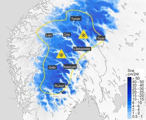 Natt til lørdag og første del av lørdag er det ventet snø i høyden i sørøst, nærmere bestemt på 700–900 moh., melder Meteorologisk institutt torsdag ettermiddag. Foto: Meteorologisk institutt / NTB.