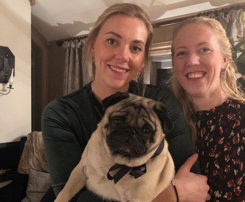 TIL BERGEN: Økonom og programleder i «Luksusfellen» Lene Drange skal til det hun omtaler som «verdens vakreste by» i julen. - Dette bildet er av meg, hunden Maxi og min søster Hilde. Foto: Privat