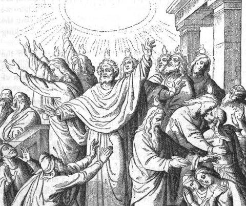 Pinsen er tiden da disiplene ble fylt av Den hellige ånd og begynte å tale alle verdens språk for å fortelle om Jesus. Foto: Wikimedia Commons