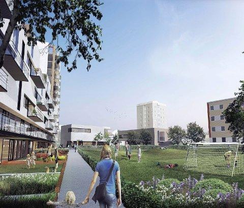 SLIK KAN DET BLI: Slik kan nye Bergkrystallen bli hvis Eiendoms- og byfornyelsesetatens endelige planforslag blir vedtatt. Forslaget legger opp til 120-130 nye leiligheter.