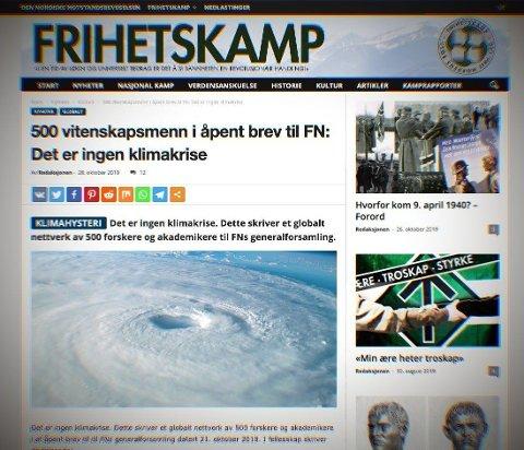 Artikkelen som slår fast at det ikke er noen klimakrise var hentet fra nettstedet til det nynazistiske nettverket Den nordiske motstandsbevegelsen.