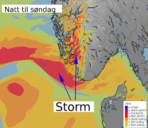 KRAFTIG VÆR: Det er varslet full storm i Rogaland og Hordaland natt til søndag.