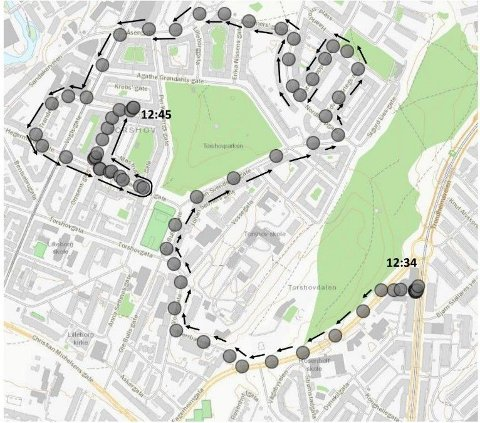 KJØRERUTA: Oslo politidistrikt gikk mandag ut med dette kartet som viser hvor den kaprede ambulansen kjørte etter at den ble tatt på Rosenhoff klokka 12.34.