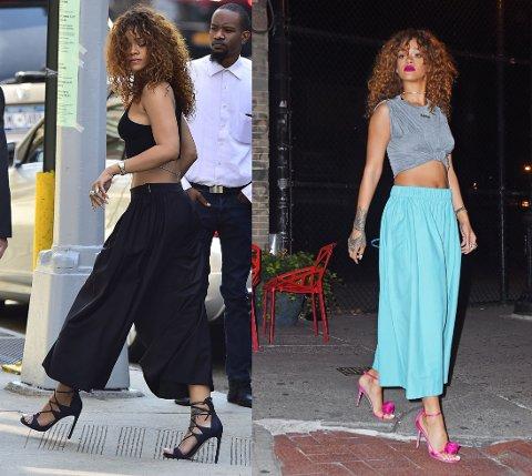 STILIG: Rihanna kan kunsten å style de volumniøse buksene. Foto: Getty Images
