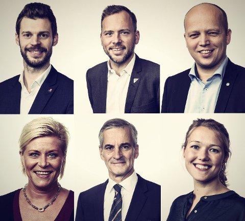 ÅPNE ALKOHOLKRANER: Bjørnar Moxnes (Rødt), Audun Lysbakken (SV), Trygve Slagsvold Vedum (Sp), Siv Jensen (Frp). Jonas Gahr Støre (Ap) og Une Bastholm (MDG).