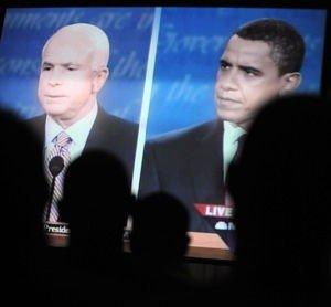 John McCain og Barack Obama i den første debatten.