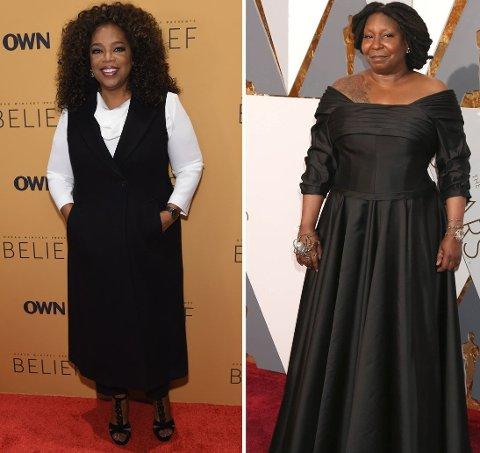TOK FEIL: En nettside trodde skuespiller og programleder Whoopi Goldberg (t.h.) var den kjente og folkekjære programlederen Oprah Winfrey.