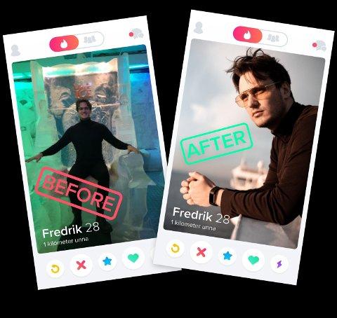 FREDRIK hyret inn Henrik Holt til å ta nye Tinder-bilder, og har fått flere matcher etter han oppdaterte profilen sin.