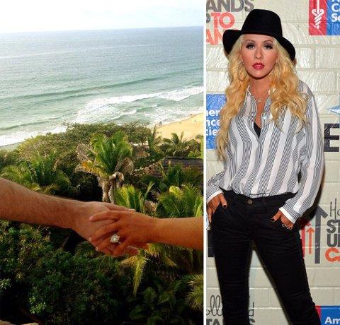 Lørdag la Christina Aguilera ut bildet (venstre) av forlovelsesringen som hun fikk av kjæresten Matthew Rutler.