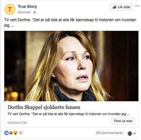 REKLAME: Dorthe Skappel sier nå fra om at denne reklamen, som bruker hennes ansikt, er svindel.