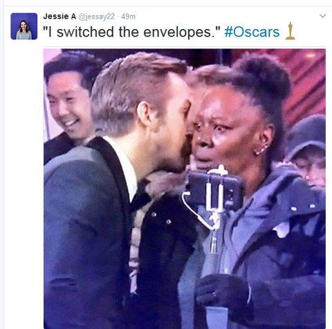 MORER SEG: Folk synes generelt at det var den BESTE avslutningen årets Oscar-utdeling kunne ha fått. Her møter helt tilfeldige turister hentet inn fra gaten årets stjerner.