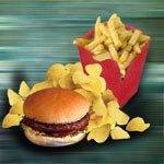 chips, hamburger, pommes frites