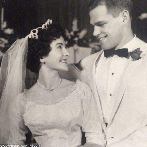 Dette bryllupsbildet er fra 1961 og mannen på bilde er 20 år.