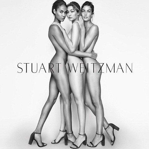 POPULÆR TRIO: Joan, Gigi og Lily er alle en del av modellstaben til Victoria's Secret, og er ettertraktede navn om dagen. Foto: Mario Testino for Stuart Weitzman