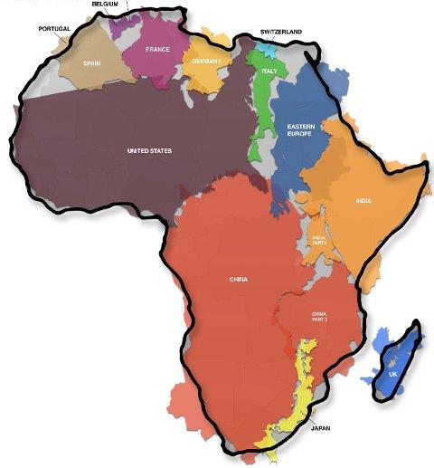 Måten verdenskartet tegnes på skjuler det faktum at Afrika er større enn Kina, USA, India, Mexico, og majoriteten av Europa. Til sammen.