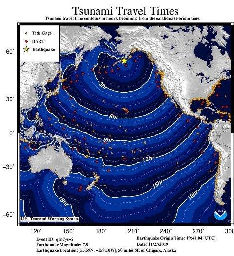 USAs tsunamivarslingssenteret har onsdag sendt ut dette varselet etter et jordskjelv i Alaska.