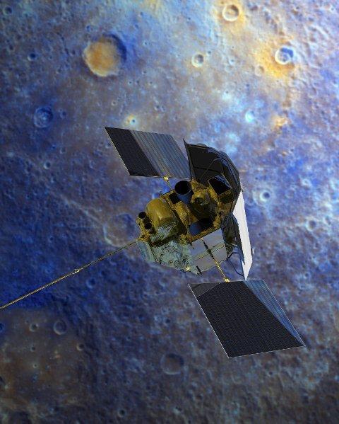 FERDIG: Messenger har gått tom for drivstoff, og krasjer inn i Merkur. Romfartøyet har de siste fire årene utforsket planeten.
