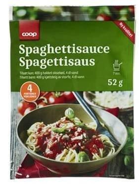 Coop trekker tilbake Coop Spaghettisaus 52 gram etter at det er påvist for høyt innhold av bly i løkpulveret som benyttes i produktet. Varene er fjernet fra butikkene. Foto: Coop / NTB