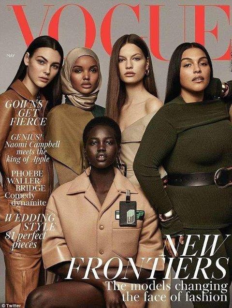 Maiutgaven av britiske Vogue. Med blant annet Halima Aden på forsiden.