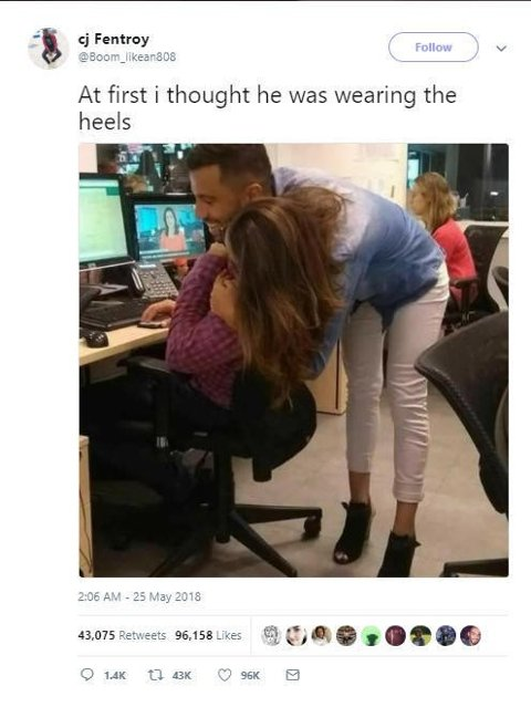 SKAPER DEBATT: Dette bildet, som har fått kallenavnet «The Hug», gjør folk på internett forvirret.