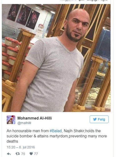 HELT: Najih Shaker Al-Baldaw hylles etter at han skal ha stoppet en selvmordsbomber ved å fysisk holde ham fast.