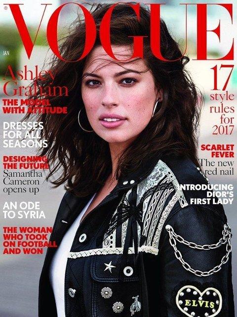 VOGUE: I januar 2017 pryder Ashley Graham forsiden av Vogue. Da hun skulle fotograferes, var det flere kjente designere som nektet å sende klær.