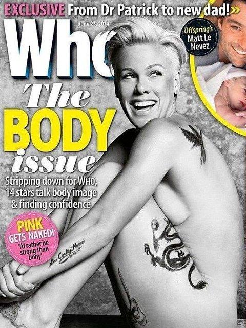 PINK som forsidepike på Who Magazine.