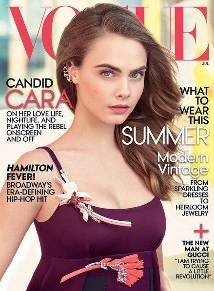 COVER: Cara er på forsiden og inne i magasinet Vogues juliutgave. Intervjuet med henne ble dog ikke godt mottatt. I skrivende stund har en underskriftskampanje mot magasinet fått godt over 14.000 signaturer.