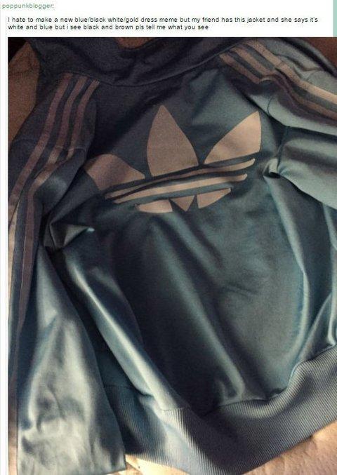 SER FORSKJELLIGE FARGER: Hvordan ser denne jakka egentlig ut?