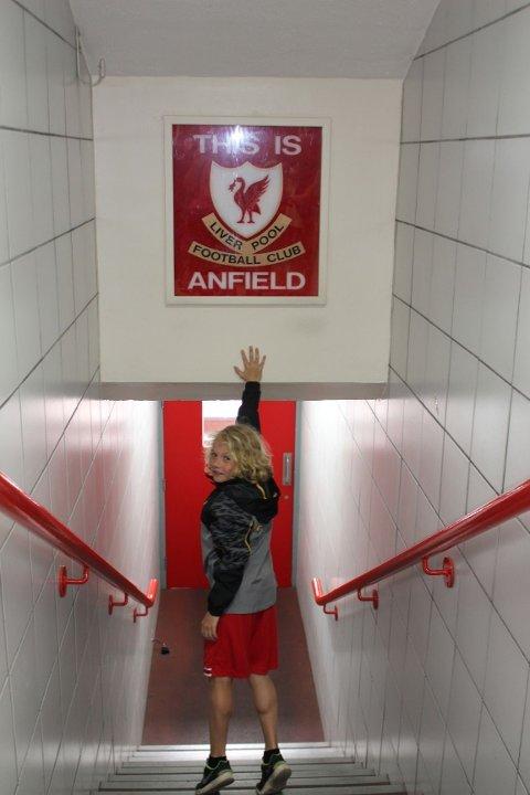 THIS IS ANFIELD: Snorre Ruud Valen besøkte legendariske Anfield under sitt treningsopphold med klubben. Alle foto: privat