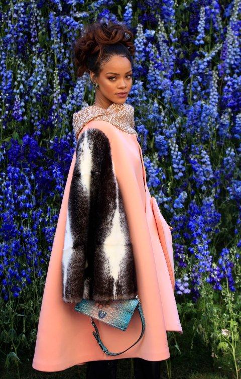FANTASTISK: Rihanna så absolutt nydelig glamorøs ut under Diors visning i Paris.