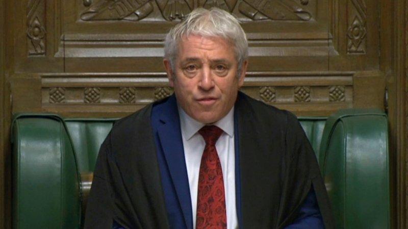 Underhusets leder John Bercow ledet avstemmingen om nyvalg.