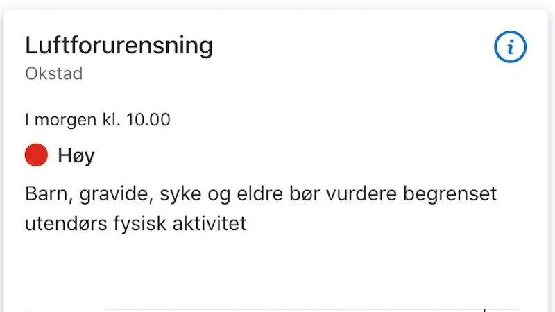 SJEKK LUFTA: Skjermdump fra Yrs nye nettsider. Denne viser luftforurensning i Trondheim onsdag 6. november.