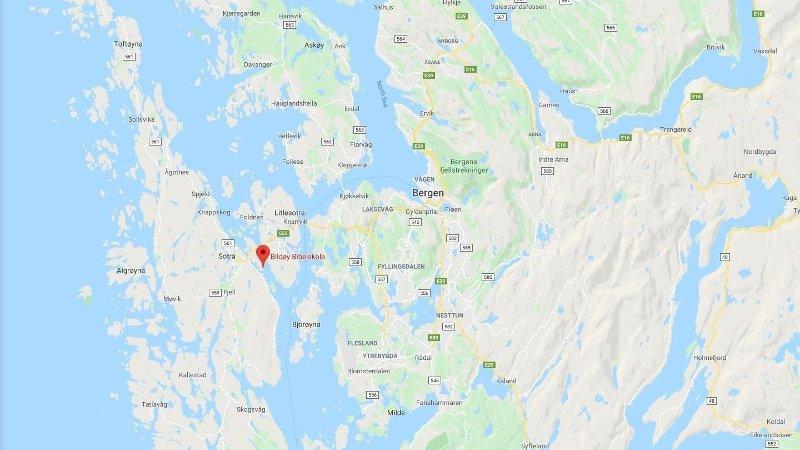 Kart som viser Bildøy bibelskole i Hordaland