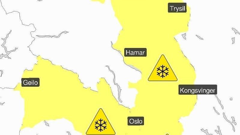 Det er sendt ut farevarsel for mye snø i Vestfold, Østfold, Buskerud, Oslo, Akershus og Hedmark.