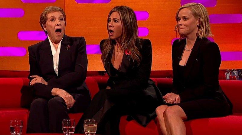 Bilde av tre kvinnelige deltakere hos Graham Norton talkshow