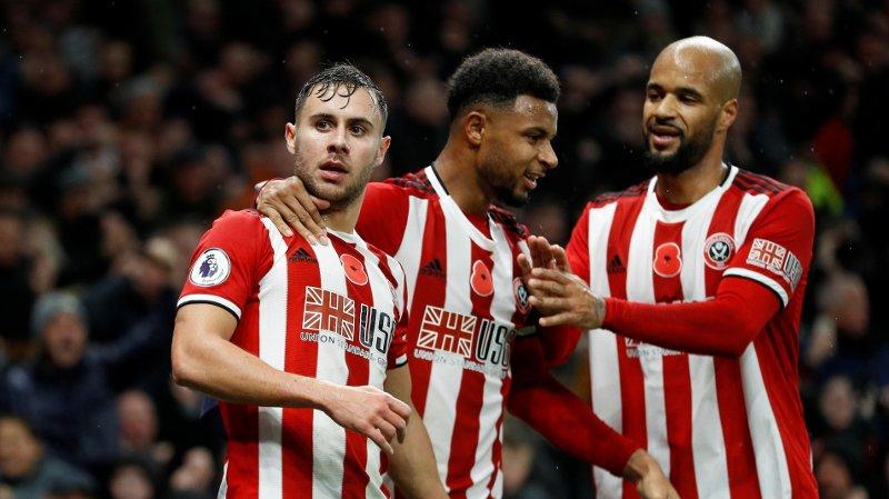 MÅL: George Baldock, Lys Mousset og David McGoldrick feirer Sheffield Uniteds utligning.