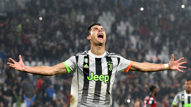Cristiano Ronaldo of Juventus celebrates after scoring from the penalty mark to give the side a 2-1 lead in the ninetieth minute of the Serie A match at Allianz Stadium, Turin. Picture date: 30th October 2019. Picture credit should read: Jonathan Moscrop/Sportimage via PA Images