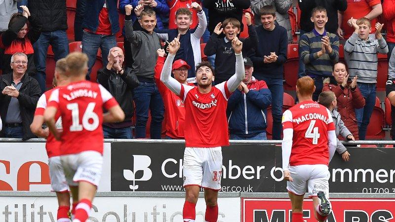 Rotherham United's Matt Crooks celebrates scoring his team's 4th goal