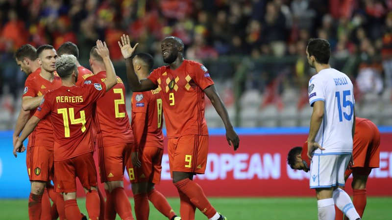 Belgium's Romelo Lukaku, center, jubilates with teammates after scoring his sides fourth goal during the Euro 2020 group I qualifying soccer match between Belgium and San Marino at the King Baudouin Stadium in Brussels, Thursday, Oct. 10, 2019.