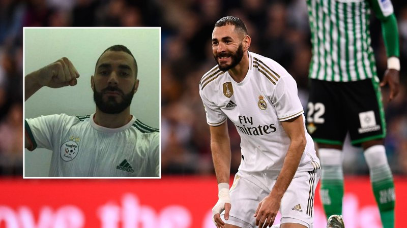 Real Madrid's French forward Karim Benzema reacts during the Spanish League football match between Real Madrid CF and Real Betis at the Santiago Bernabeu stadium in Madrid, on November 2, 2019.