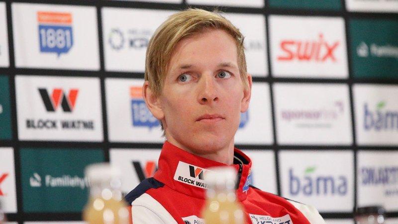 FALL: Magnus Krog klarte ikke holde seg på beina under NM i Falun.